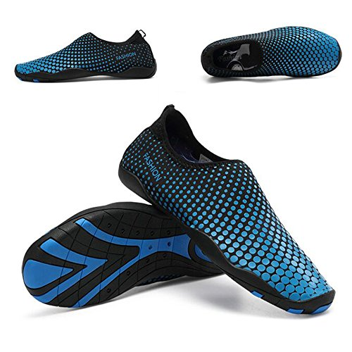 Water Shoes Mens Womens Beach Shoes Swim Shoes Quick-Dry Aqua Socks Pool Shoes for Surf Yoga Water Aerobics(BD.Blue)