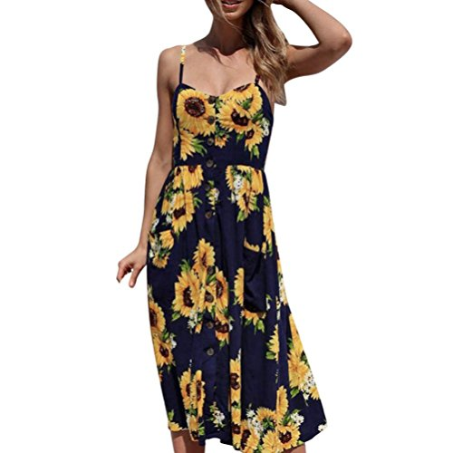 Tenworld Women's Spaghetti Strap Sunflower Dress Sexy Sleeveless Beach Sundress (L, Navy)