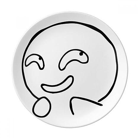 Amazon com | Evil Laugh Black Expression Emoji Dessert Plate