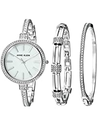 Women's AK/2847SVST Swarovski Crystal Accented Silver-Tone Watch and Bangle Set