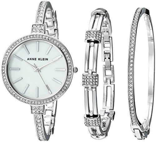 Anne Klein Women's AK/2847SVST Swarovski Crystal Accented Silver-Tone Watch and Bangle (Anne Klein Metal)