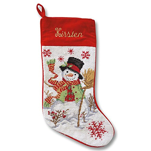 (Lillian Vernon Personalized Heirloom Christmas Stocking - Needlepoint Snowman, 100% Wool, 9.5