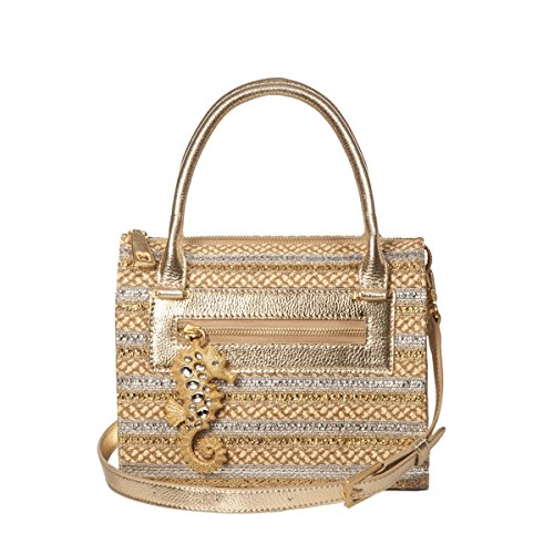 Eric Javits Luxury Fashion Designer Women's Handbag - Rio - Peanut/Silver/Gold by Eric Javits