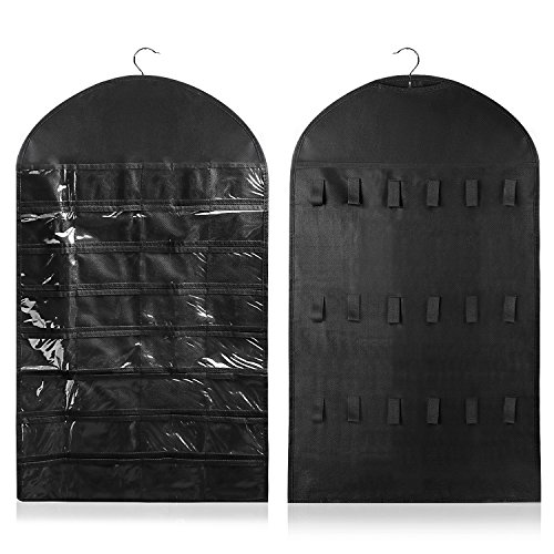 Flexzion Jewelry Organizer Non-Woven Hanging Bag - Dual Side 32 Clear Pockets 18 Hooks & Loops (Black) (Earring Long Loop)