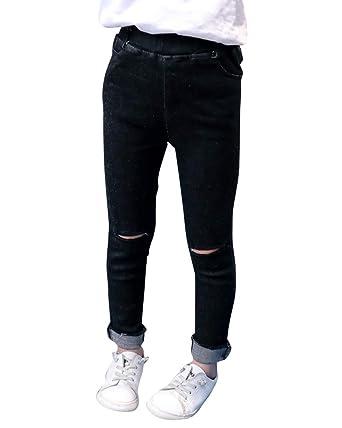 ce98aa704 Vaqueros Niñas con Rotos Stretch Skinny Jeans Pantalones Largo De Cintura  Elástica  Amazon.es  Ropa y accesorios