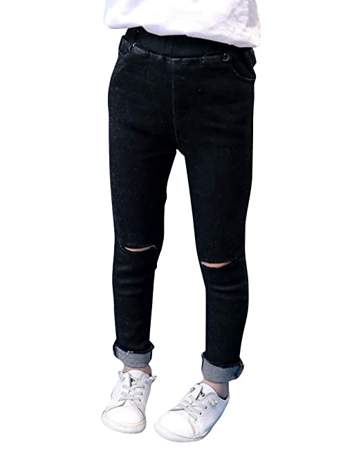 Vaqueros Niñas con Rotos Stretch Skinny Jeans Pantalones ...