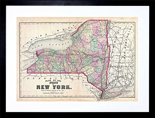 - 1873 Beers MAP New York State Vintage Framed Art Print Picture & Mount F12X028