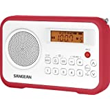 Sangean AM/FM/Clock Portable Digital Radio with Protective Bumper PR-D18RD (White/Red)
