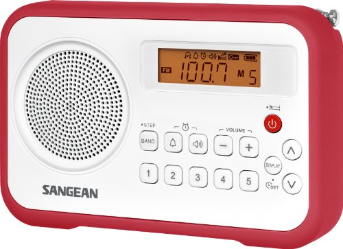 Sangean PR-D18RD AM/FM/Portable Digital Radio with Protective Bumper (White/Red)