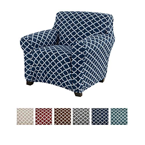 Printed Stretch Chair Slipcover. 1-Piece Strapless Furniture Covers for Living Room with Twill Fabric, Elastic Bottom. (Navy) (Chairs Room Printed Living)