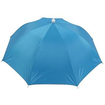 Celeste Plegable Elástico Diadema Paraguas Sombrero Prendas de cabeza para pescar
