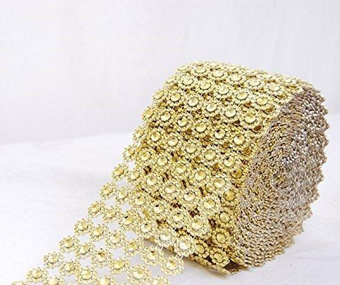 JSSHI 6 Row,4 x10 Yard,Silver Flower Diamond Rhinestone Crystal Mesh Ribbon Wrap Roll for Wedding Decorations, Wedding Cake, Birthdays, Party Supplies, Arts & Crafts(Flower Pattern 10 Yards) (Golden)