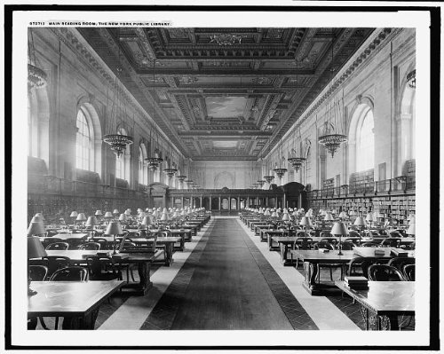 Photo: Main reading room,interiors,buildings,chandelier,New York Public (Chandelier Library)