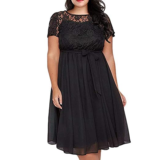 1266037b35 Amazon.com: TnaIolral Women Dresses Scooped Neckline Floral Lace Top Plus  Size Cocktail Party Skirt: Clothing