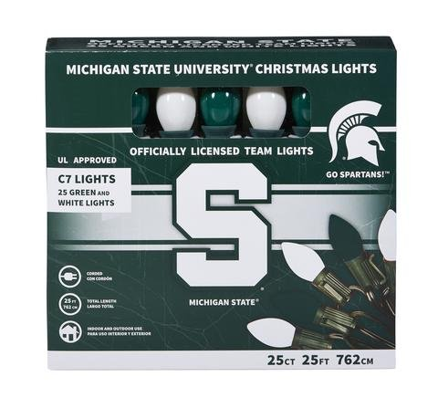 Let's Light It Up Officially Licensed College Christmas Lights (Michigan State)