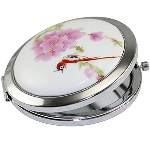 KOLIGHT New Vintage Chinese Landscape Flower Bird Double Sides One is Normal,Another is Magnifying Portable Foldable Pocket Metal Makeup Compact Mirror Woman Cosmetic Mirror Flower Red Bird