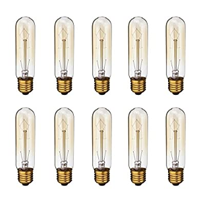 KINGSO E26 E27 Vintage Edison Light Bulbs 60W 110V T10 Dimmable Tubular Light Bulb Nostalgic Tungsten Filament Incandescent Antique Bulb for Home and Commercial Light Fixtures