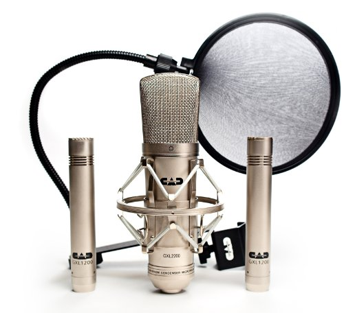 CAD GXL2200SSP Stereo Studio Pack with GXL2200 Cardioid Condenser Microphone, Two GXL1200 Cardioid Condenser Microphones, and EPF15A Pop - Pack Stereo