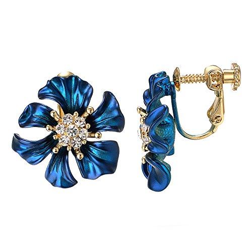 Yoursfs Flower Clip Earrings for Women Blue Flower Non Pierced Ears Wedding Jewelry