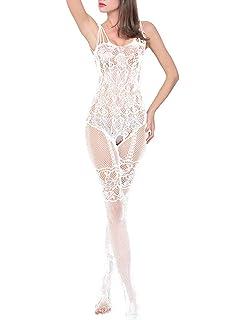Frecoccialo Combinaison Sexy Femme Erotique Ouverte en Resille Longue Porte  Jarretelles Colant… 6b3d9bc71a2
