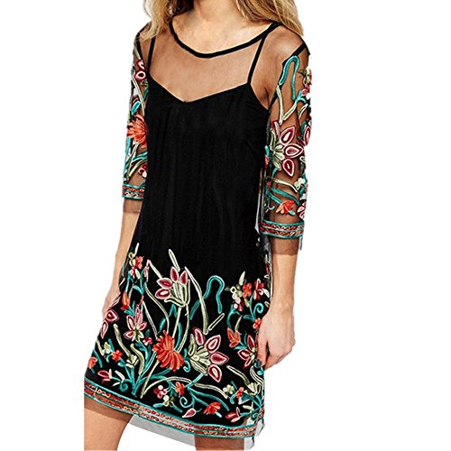 Embroidered Lace Print Dress Women Bohemian Vintage Mesh Perspective Casual Loose Party Mini Dress MEEYA Black