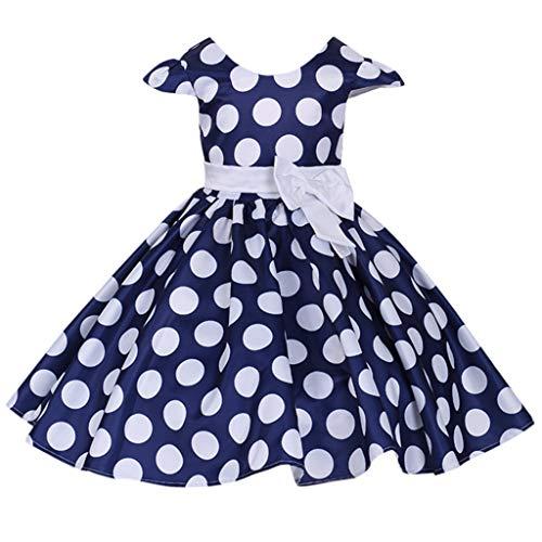 RAINED-Girls Toddlers Cap Sleeves Skirt Vintage Polka Dot Dress Cosplay Fancy Princess Dress Summer Flower Pageant Dress Blue