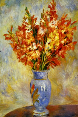 """GLADIOLI VASE OF FLOWERS FRENCH 1884 BY PIERRE AUGUSTE RENOIR 16"""" X 24"""" IMAGE SIZE REPRO ON CANVAS"""