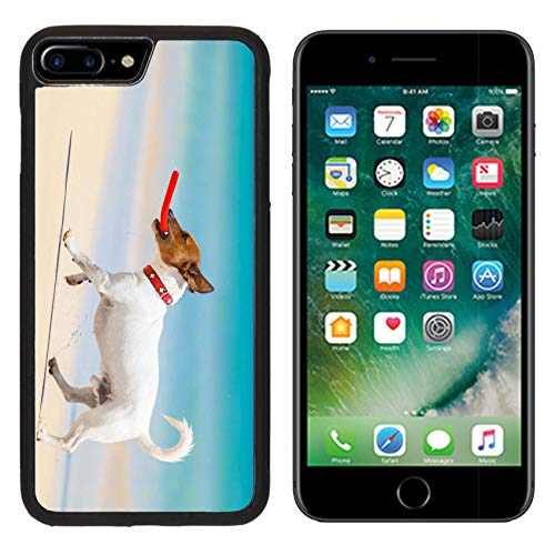 MSD Apple iPhone 8 Plus Case Aluminum Backplate Bumper Snap Case Image ID 28835611 Dog catching a red Flying disc and Running at The Beach