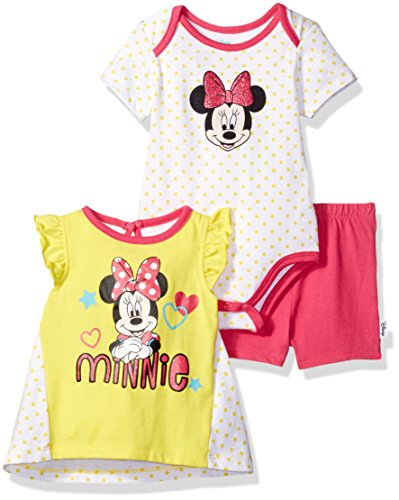 Disney Baby Girls' Minnie Mouse 3-Pack Top, Bodysuit and Short Set, Aurora, 3/6