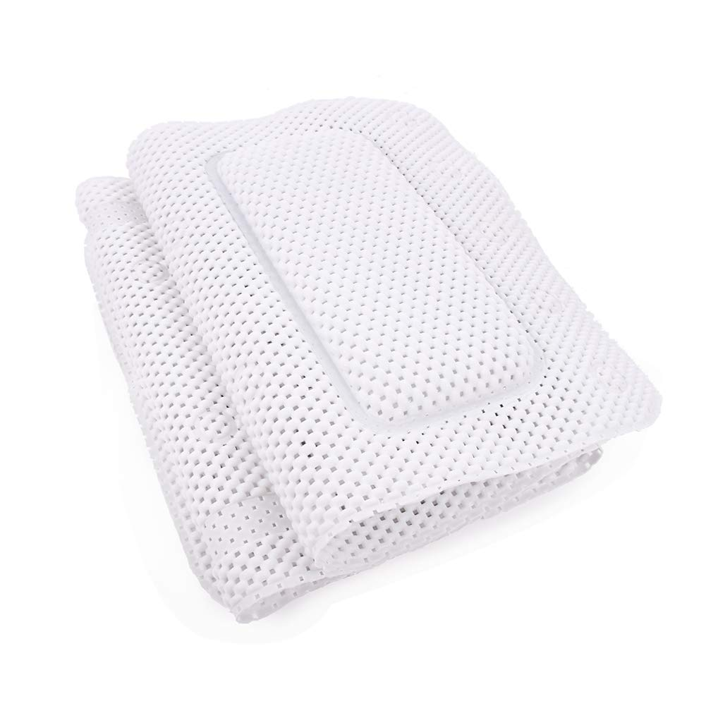 aimu Full Body Spa bathtub Mat with Pillow,30 Suction Cups for Safe Use,Durable anti-bacterial Foam PVC material,Resistant to Mold(White) GHSY