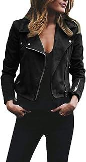 GiveKoiu Vestiti Donna Invernali Autunno Donna Giacca Giacchetto Pelle Ecopelle Corto Slim Giacca da Motociclista Giacca da Moto Outwear Manica Lunga Risvolto Cerniera Cappotto Taglie Forti