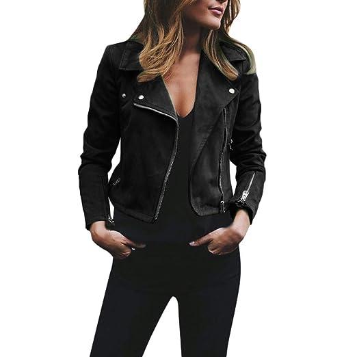 HongXander Womens Retro Rivet Zipper Up Bomber Jacket Casual Open Front Coat Outwear (Black,
