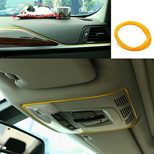 ATMOMO 5M Flexible Trim for DIY Automobile Car Interior Exterior Moulding Trim Decorative Line Strip (Yellow)