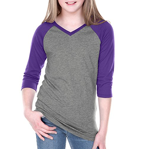 Kavio! Big Girls 7-16 Sheer Jersey Contrast V Neck Raglan 3/4 Sleeve Dark H.Gray/Grape (Big Kids Purple Apparel)