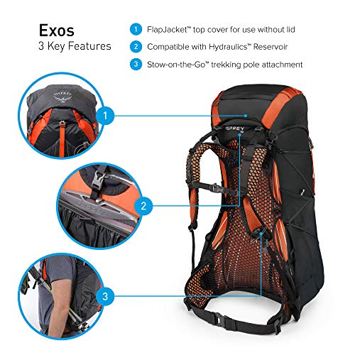 What Are the Backpacking Big Three Example Osprey Packs Exos 48 Backpacking Pack, Blaze Black, Large