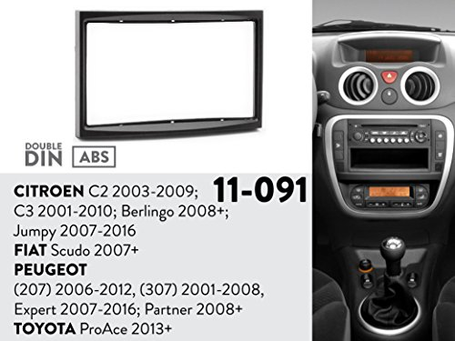11-091 UGAR Radio Installation Mounting Kit for CITROEN C2 2003-2009; C3 2001-2010; Berlingo 2008+; Jumpy 2007-2016 / FIAT Scudo 2007+ / PEUGEOT (207) 2006-2012, (307) 2001-2008.