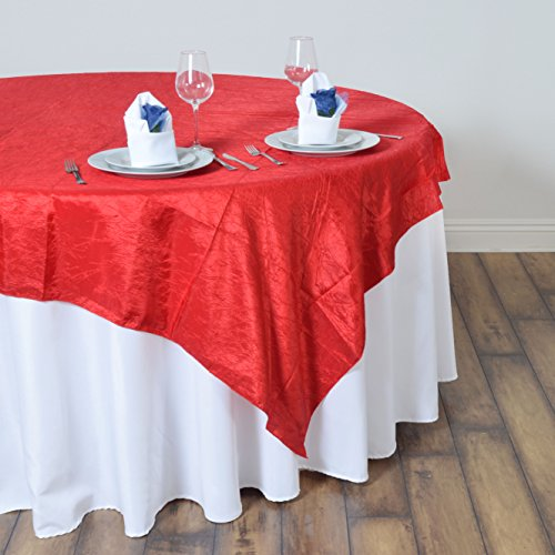 BalsaCircle 60x60-Inch Red Taffeta Table Overlays - Wedding Reception Party Catering Table Linens Decorations]()