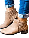 Womens Ankle Booties Leather Chunky Block Low Heel Hollow Out Back Zip Boots