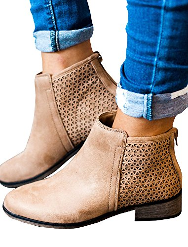 Fashare Womens Western Ankle Boots Stacked Heel Back Zipper Fall Booties Shoes