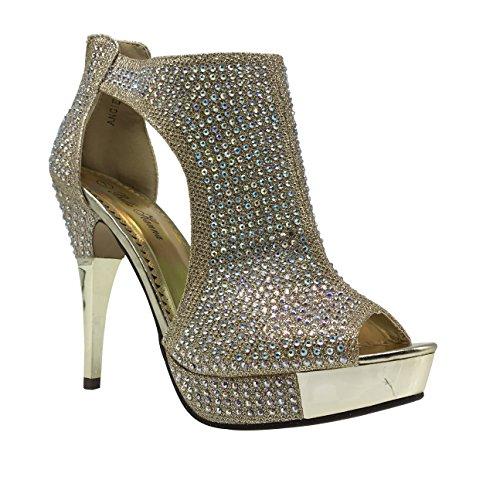 Angie04 Womens Open Toe High Heel Wedding Rhinestone Rear Zipper Open Toe Sandal Wedge Shoes (11, Gold) Rear Heel