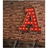 G Marquee Light Up Letter Sign CUSTOM A-Z Light Bulb Marquee Sign - Rustic Industrial Lighting Metal, Wood & Vintage Bulbs, Letter Sign Wall Light - Battery Operated or Plug in marquee letter