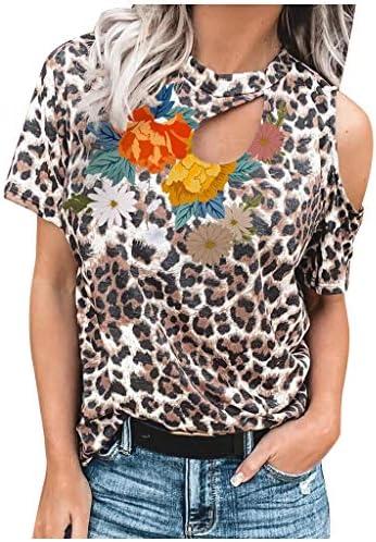 Memela Short Sleeve T-Shirt for Women Ladies Fashion Leopard Print Flower Patchwork One Off Shoulder Crew Neck Tee Blouse