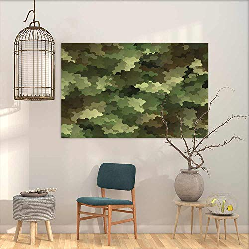 Oncegod Pattern Oil Painting Art Sticker Camo Frosted Glass Effect Hexagonal Abstract Being Invisible Woodland Print for Home Decoration Wall Decor Green Pale Green and Brown W23 xL19
