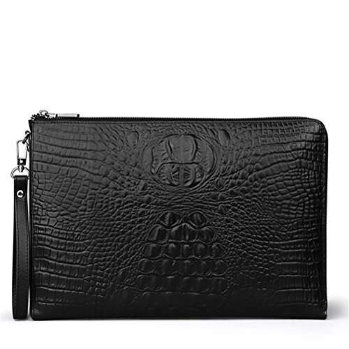 Crocodile Leather Goods - Men's Handbag File Bag Business A4 Envelope Bag Head Cowhide Bag Casual Crocodile Pattern Handbag Men's Leather