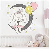 WYZDGTD Muurstickers Schattige Konijntje Zit Op de Maan met Konijn Ballon Sterren Kinderkamer Babykamer Decoratie PVC…