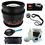 Rokinon CV85M-C 85mm t/1.5 Aspherical Lens for Canon with De-Clicked Aperture + Lens Band(Black), Cleaning and Care Kit, Microfiber Cleaning Cloth, Lens Cap Keeper and Professional Dust Blower