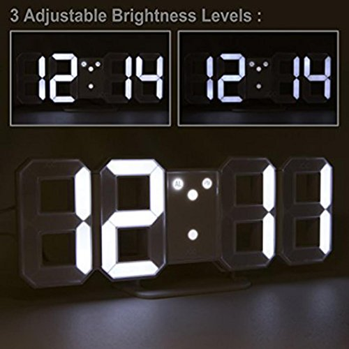BB67 Clock Modern Digital LED Table Desk Night Wall Clock Alarm Watch 24 or 12 Hour Display (White) by BB67 (Image #4)