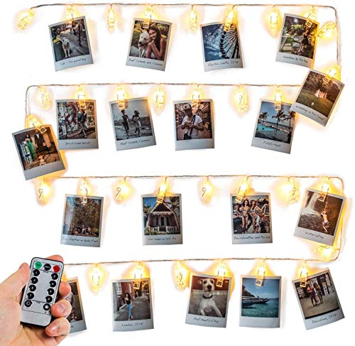 Photo Clip String Lights (16.4ft), 40 LED & Remote - Battery Powered, Warm White Fairy Lights - Gift for VSCO Teen Girl - Cute Dorm Room Decor - Hanging Polaroid Pictures as Bedroom Wall Decoration (Ideas Room Lights Decor)