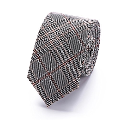 slim tie 6 cm cotton gray plaid necktie men red striped wedding T16