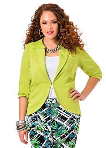 Ashley Stewart Women's Plus Size Zip Lapel Jacket - Size: 16, Color: Parrot Green